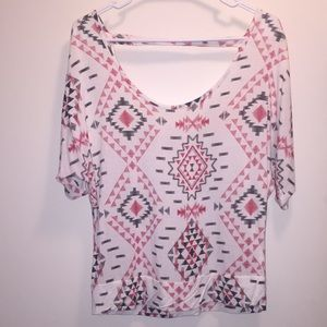 Short sleeve, tribal print, top for women. Size M